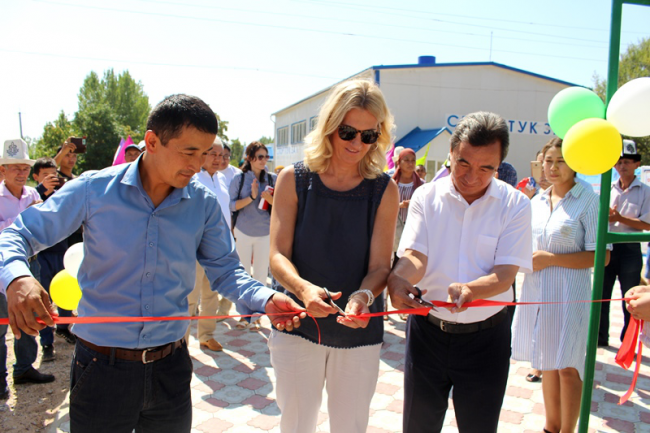 A mini-football field was completed in the village of Airy-Tam of the  1-May ayil aimak of the Ala-Buka district
